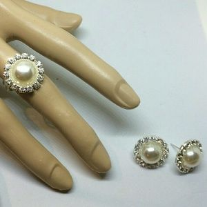 Crystal Pave Pearl Earrings & Matching Ring